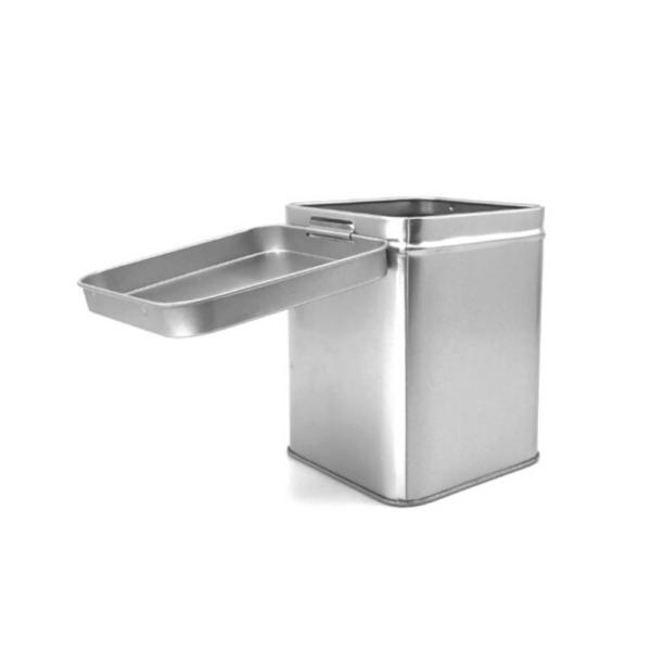 seed storage metal tin hinged lid